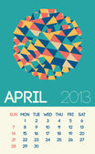 Stylish April 2013 calendar with vintage design — Stock Vector