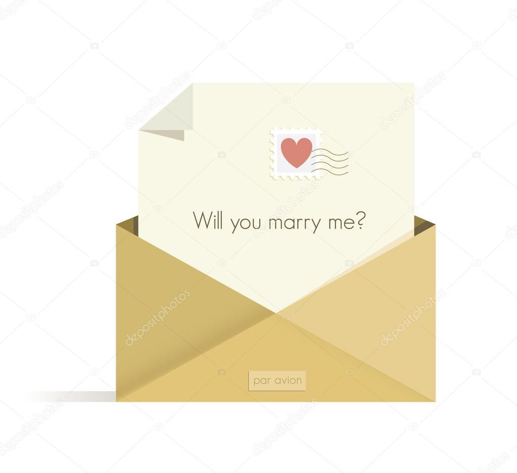 letter will you marry me question red heart postal letter will you marry me question red heart postal stamp in the opened