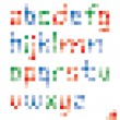 Pixel colorful lower case alphabet vector set design — Stock Vector