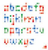 Pixel colorful lower case alphabet vector set design — Stock Vector