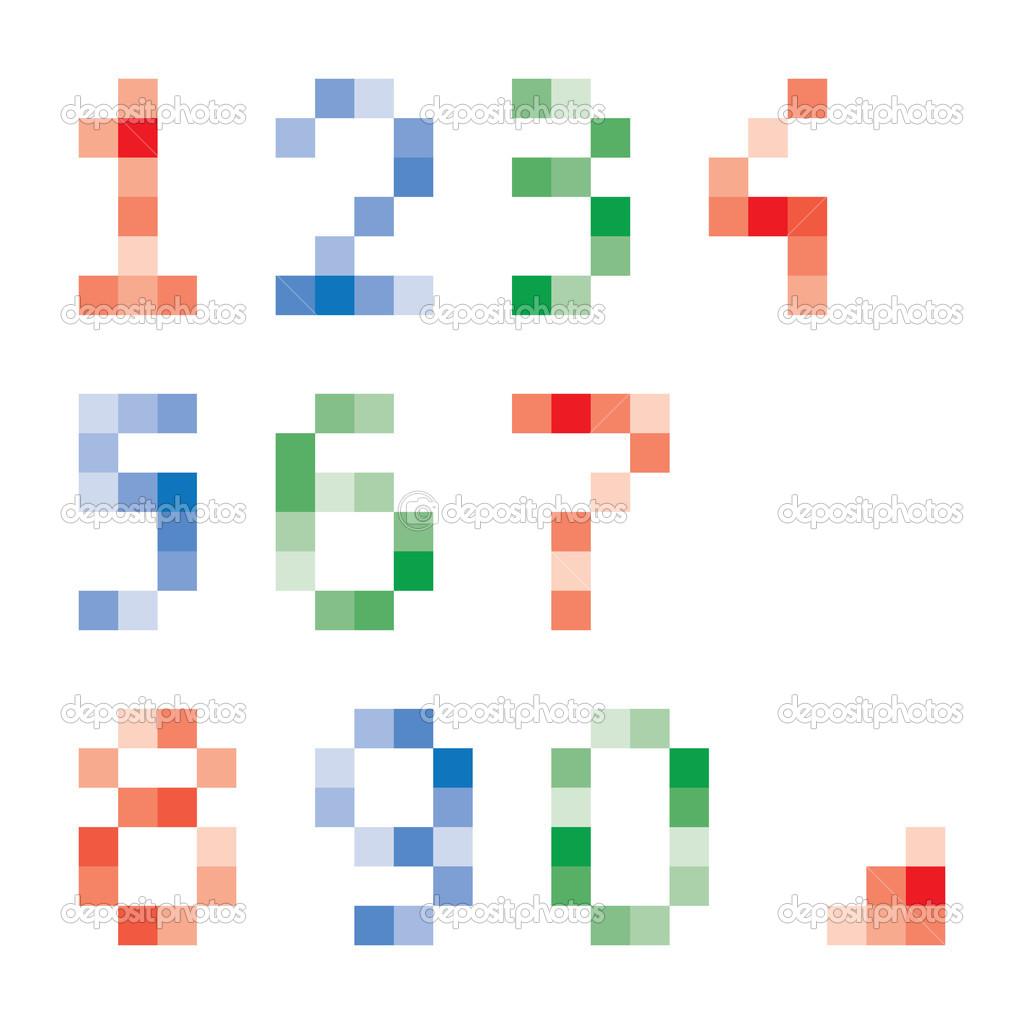 Bunte Pixel Zahlen Vektor Gruppe