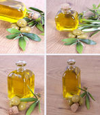 Composition of oils and olives — Stock Photo