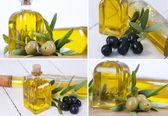 Sammansättning av oliver och olja — Stockfoto