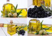 Composición de aceitunas y aceite — Foto de Stock