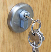 Door with lock and handle — Stock Photo