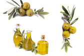 Composition of oil bottles and olives — Stock Photo