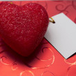 Red heart with card — Stock Photo