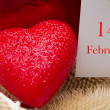 Stock Photo: Red heart with card