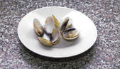 Clams on the plate — Stockfoto