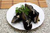 Mussels on dish — Foto Stock