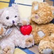 Stock Photo: Teddy bears with heart