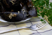 Mussels in the table — Stock Photo