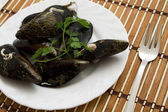 Mussels in the table — ストック写真
