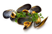 Tasty mussels with parsley — Stok fotoğraf
