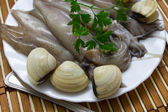 Calamari with fresh clams — Stock Photo