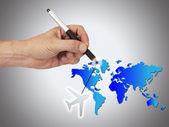手绘图世界地图 — 图库照片
