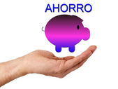 Hand with piggy bank isolated — Stok fotoğraf