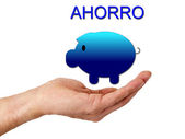 Hand with piggy bank isolated — Stockfoto