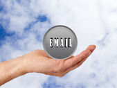 Nternet hand button in the clouds — Stock Photo