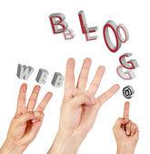 Hand symbol Internet — Stockfoto