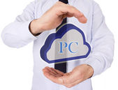 Businessman with cloud in your hands — Stock Photo