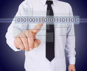 Businessman pressing button — Stock Photo