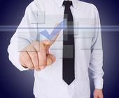 Biznesmen naciskając przycisk — Zdjęcie stockowe