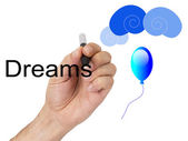 Hand writing words of dreams — Stock Photo