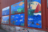 Children's mural depicting fish — Stock Photo