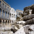 Stones of Roman amphitheater in Pula — ストック写真