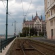 Stock Photo: Rails in Budapest near Parliament building