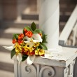 Bouquet on a handrail — Foto Stock