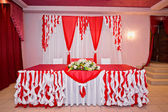 Hall registration red and white — Stock Photo