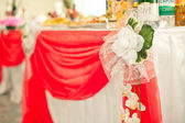 The table decorated with a fabric. — Stock Photo