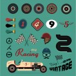 Vector icons of vintage car racing — 图库矢量图片