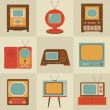 Stock Vector: Retro vintage Tv set