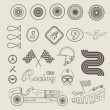 Vector icons of vintage car racing — Stock Vector