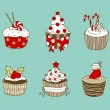 Stock Vector: Christmas cupcakes