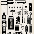 London city street icon set — Stok Vektör