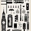 Stock Vector: London city street icon set