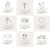 Handshake insurance icons — Stock Vector