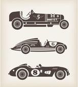 Vektör vintage spor yarış arabaları — Stok Vektör