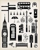 London city street icon set — Stock Vector