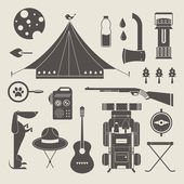 Vector camping icons — Stock Vector