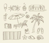 Beach doodle icons — Stock Vector