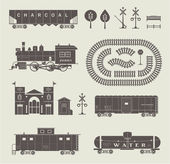 Vector train set — 图库照片