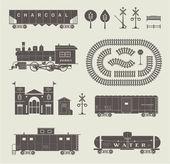 矢量火车集 — 图库照片