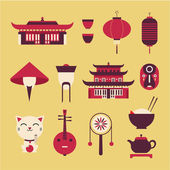Chineese travel icons — Stock Vector