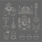 Indian icons — Stock Vector