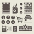 supermarket icons — Stock Vector